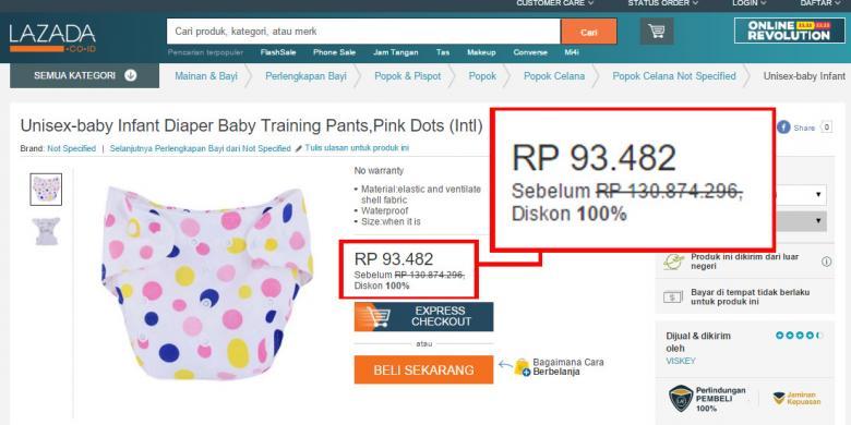 Popok dijual 100 juta - http://tekno.kompas.com
